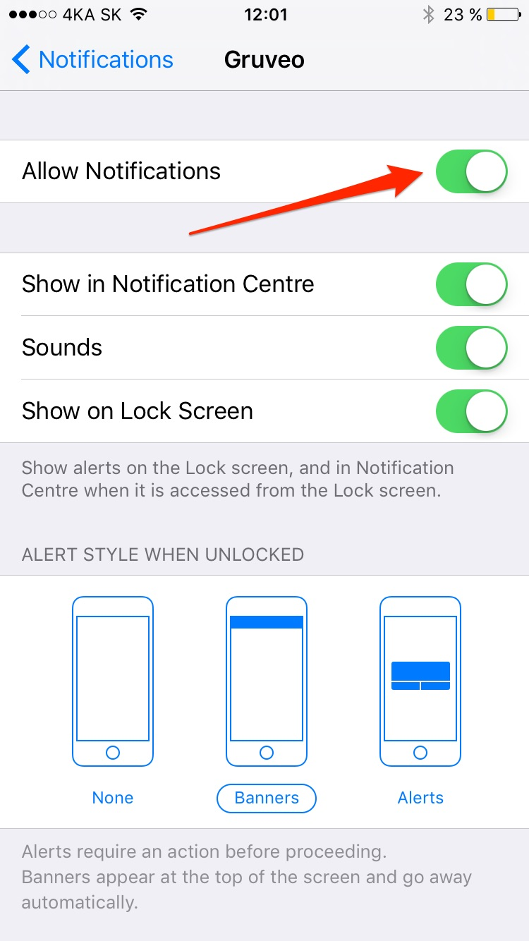 Gruveo Notification Settings