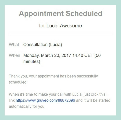 Gruveo for Acuity Scheduling integration - booking confirmation email