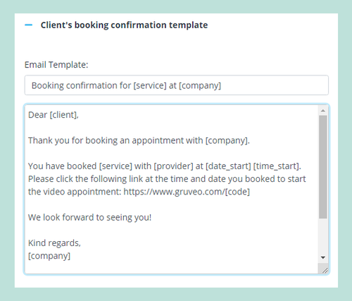 SimplyBook.me and Gruveo integration - new appointment confirmation settings