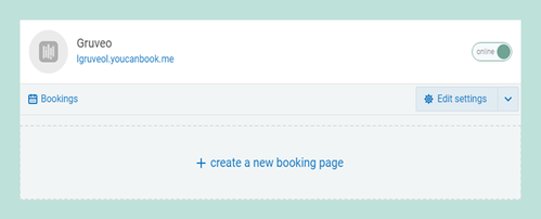 Create a new Booking page or edit settings for the existing one.